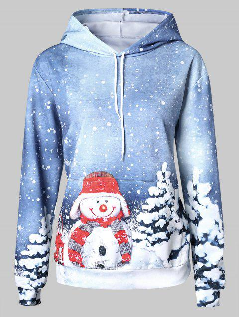 Plus Size Christmas Front Pocket Hoodie - multicolor 1X