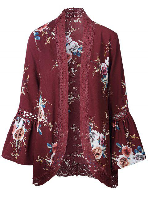 Lace Insert Floral Print Bell Sleeve Kimono - RED WINE M