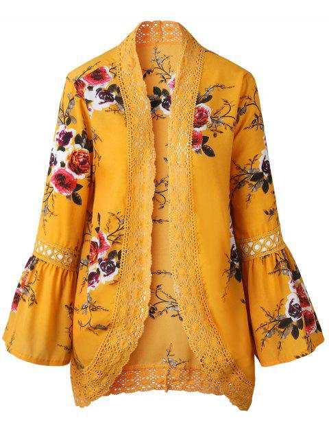 Lace Insert Floral Print Bell Sleeve Kimono - GINGER BROWN L