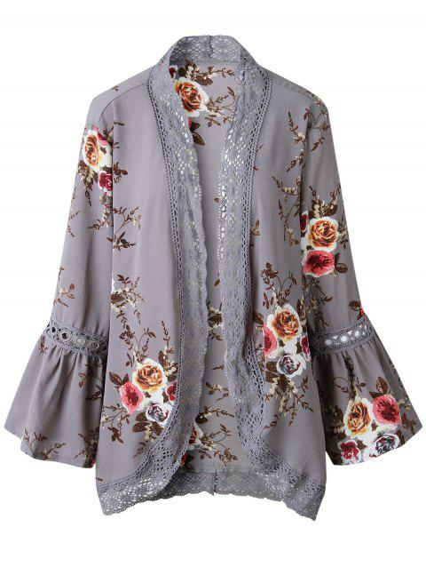 Lace Insert Floral Print Bell Sleeve Kimono - GRAY M