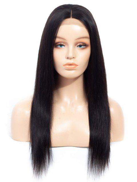 Middle Part Straight Human Hair Lace Wig with Lace Closure - NATURAL BLACK 12INCH