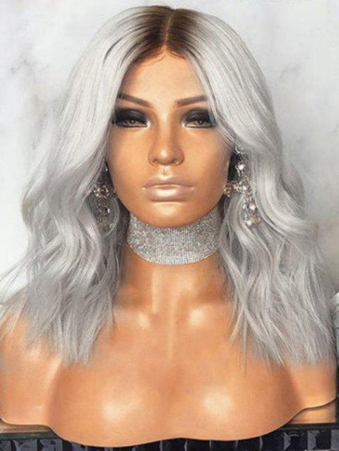 Medium Center Parting Ombre Natural Wavy Party Synthetic Wig - GRAY 14INCH