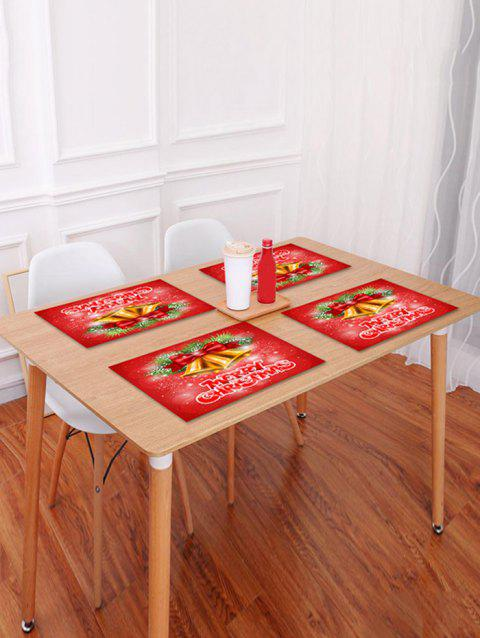 1PC Merry Christmas Bells Printed Placemat - RED W18 X L12 INCH