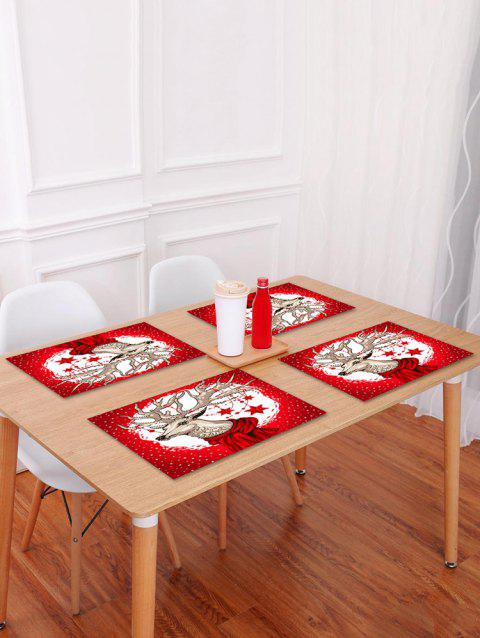 1PC Christmas Deer Star Printed Placemat - RED W18 X L12 INCH