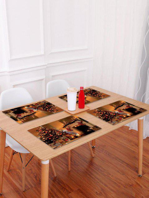 1PC Christmas Tree Stocking Printed Placemat - BROWN W18 X L12 INCH