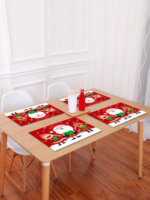 1PC Cartoon Father Christmas Printed Placemat - RED W18 X L12 INCH