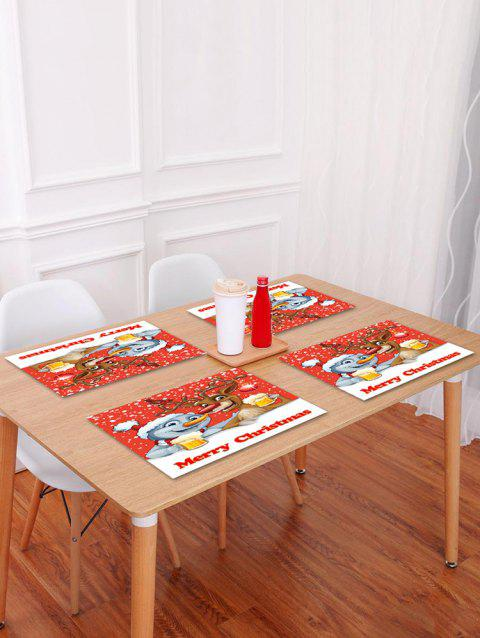 1PC Merry Christmas Deer Pattern Placemat - RED W18 X L12 INCH