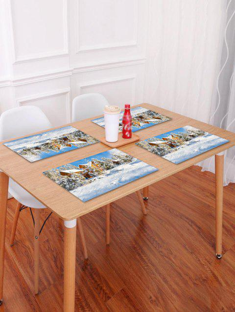 1PC Christmas Snow Scene Printed Placemat - WHITE W18 X L12 INCH