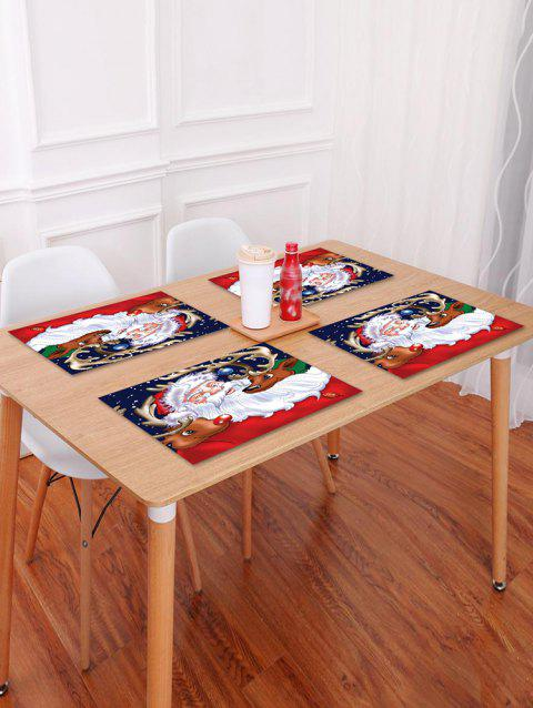 1PC Father Christmas Deer Print Placemat - LAVA RED W18 X L12 INCH