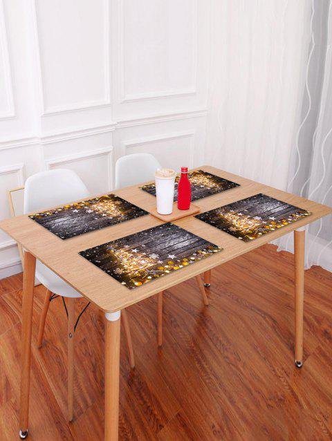 Christmas Tree Wood Grain Pattern Placemat - BROWN W18 X L12 INCH