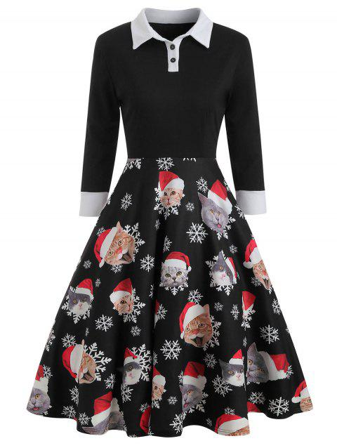 Vintage Christmas Cat Pattern Long Sleeve Dress - BLACK XL