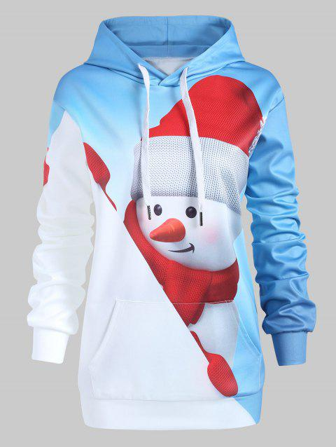 Plus Size Christmas Snowman Pullover Hoodie with Pocket - DEEP SKY BLUE 2X