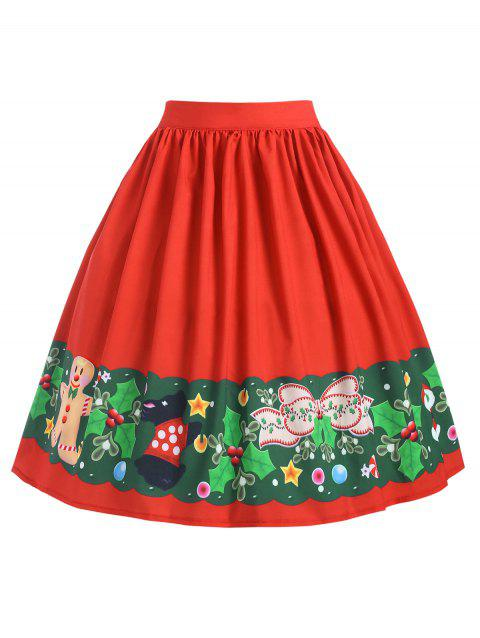 Plus Size Christmas Santa Claus A Line Skirt - RED 2X