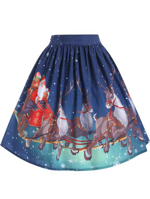 Plus Size Christmas Printed Skirt - SILK BLUE L