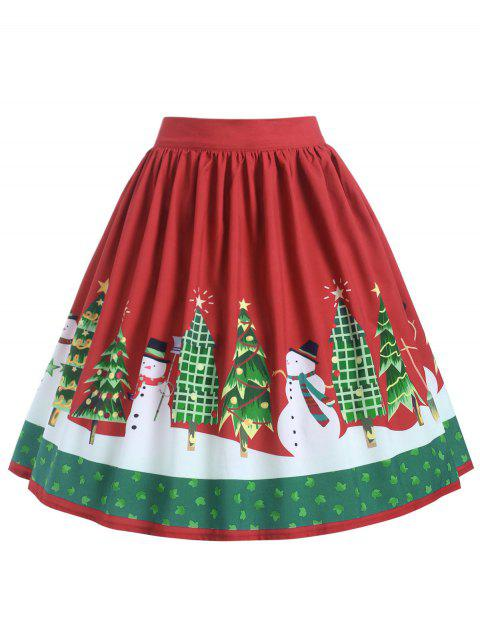 Plus Size High Waisted Christmas Graphic Skirt - RED 3X
