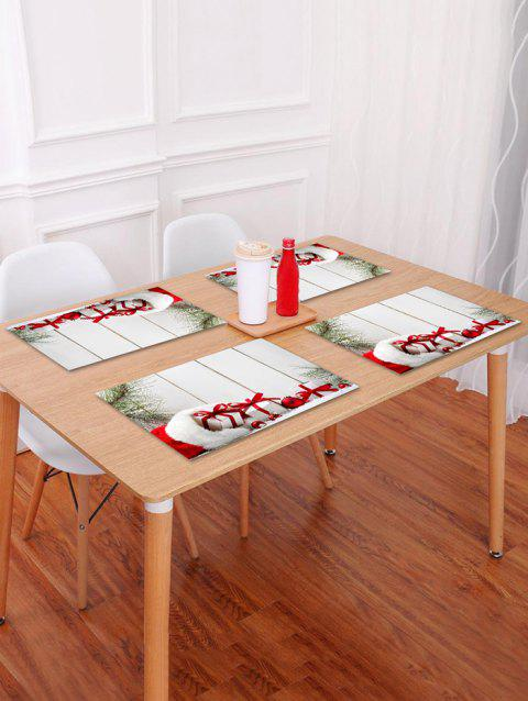 1PC Christmas Gift Wooden Printed Placemat - WHITE W18 X L12 INCH