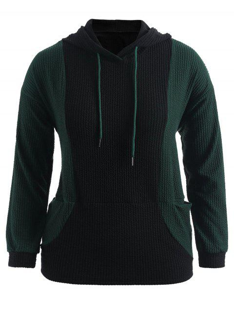 Color Block Plus Size Pullover Hoodie - DARK GREEN 2X