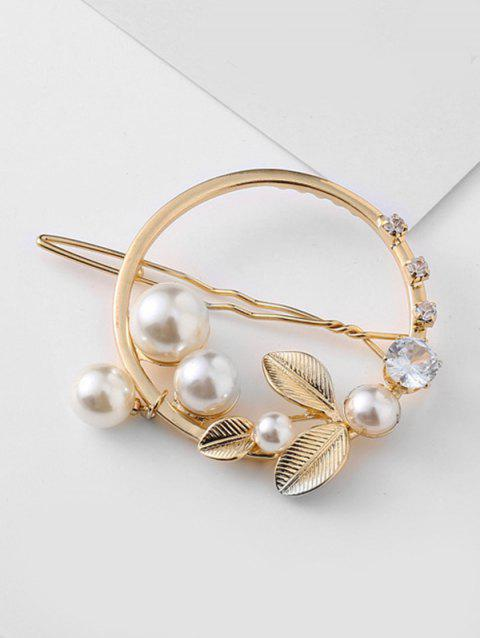 Rhinestoned Leaves Shape Artificial Pearl Brooch - GOLD