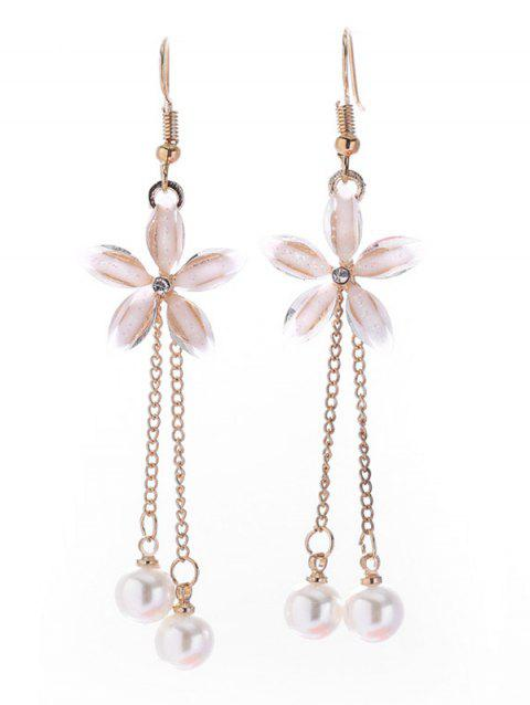 Floral Design with Tassel Artificial Pearl Earrings - GOLD