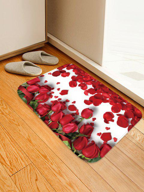 Rose Flowers Print Antiskid Area Rug - multicolor W20 X L31.5 INCH