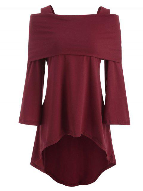 Bare Shoulder Long Fold Over T-shirt - RED WINE XL