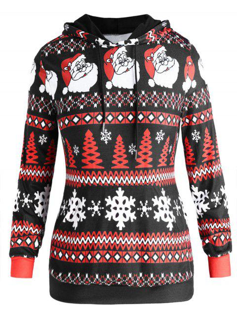 Plus Size Christmas Print Drawstring Hooodie - multicolor A L