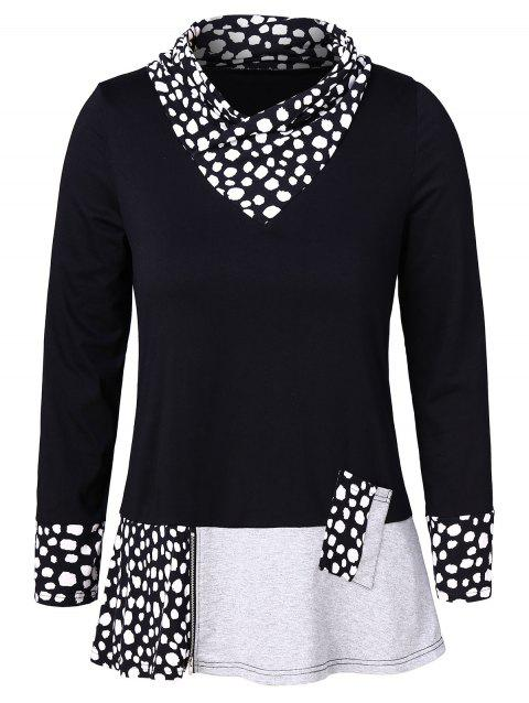 Plus Size Long Sleeves Panel Top with Zipper - BLACK L