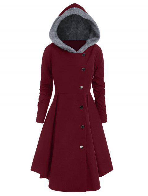 Plus Size Asymmetric Contrast Hooded Skirted Coat - RED WINE 3X