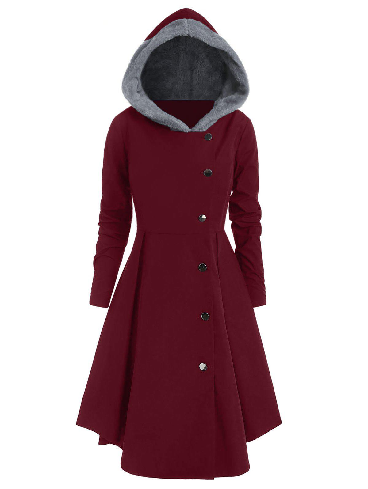Plus Size Asymmetric Contrast Hooded Skirted Coat - RED WINE 2X