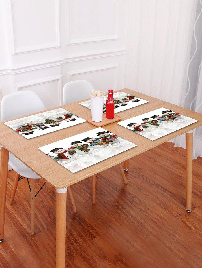 1PC Christmas Snowmans Printed Placemat - WHITE W18 X L12 INCH