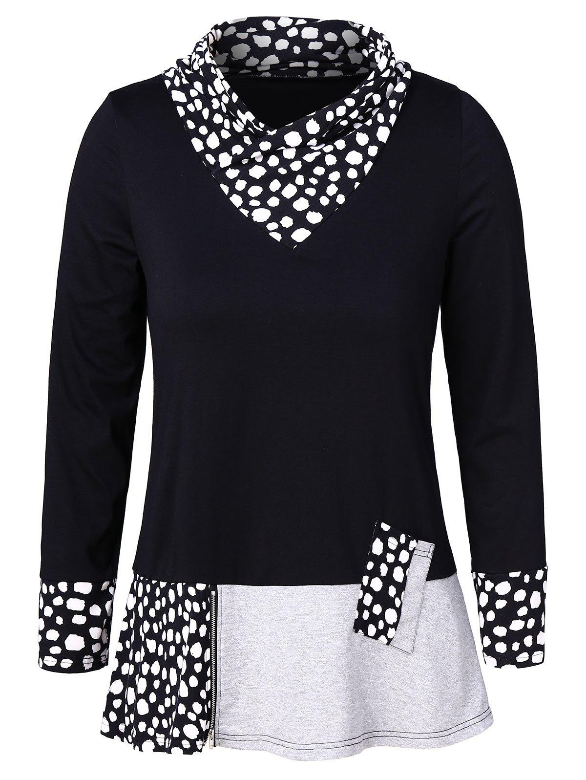 Plus Size Long Sleeves Panel Top with Zipper - BLACK 1X