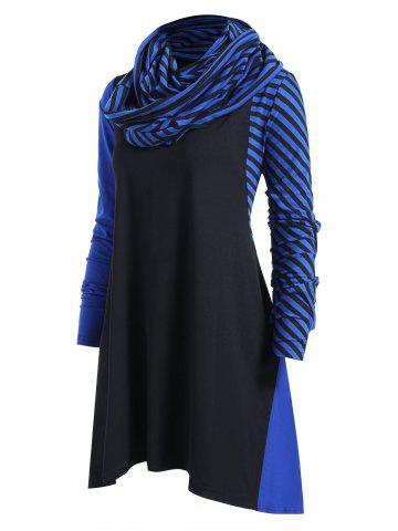 Striped Panel Plus Size Asymmetrical Dress with Scarf