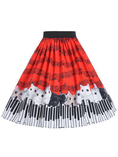 Plus Size Cat and Musical Note Skirt - RED 4X