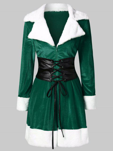 Christmas Faux Fur Insert Velvet Dress - MEDIUM SPRING GREEN L
