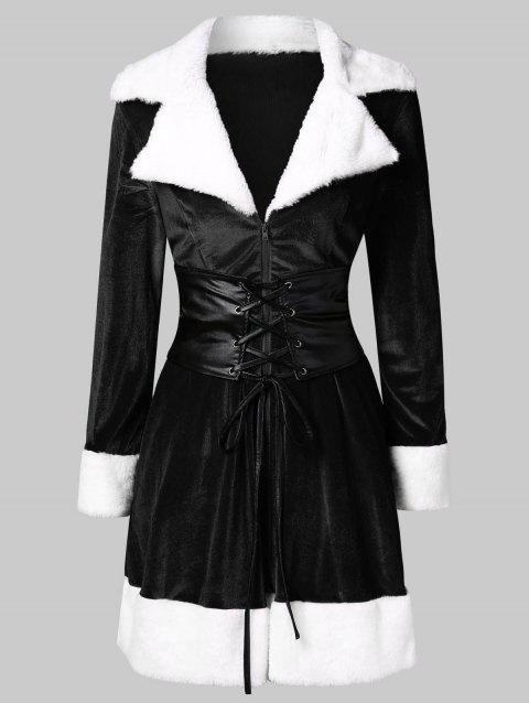 Christmas Faux Fur Insert Velvet Dress - BLACK XL