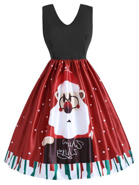 Plus Size Vintage Christmas Print Dress - RED 3X