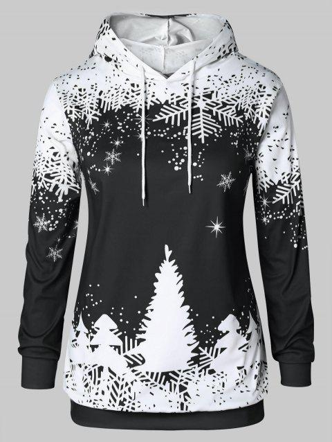 Plus Size Christmas Tree Print Hoodie - BLACK 4X
