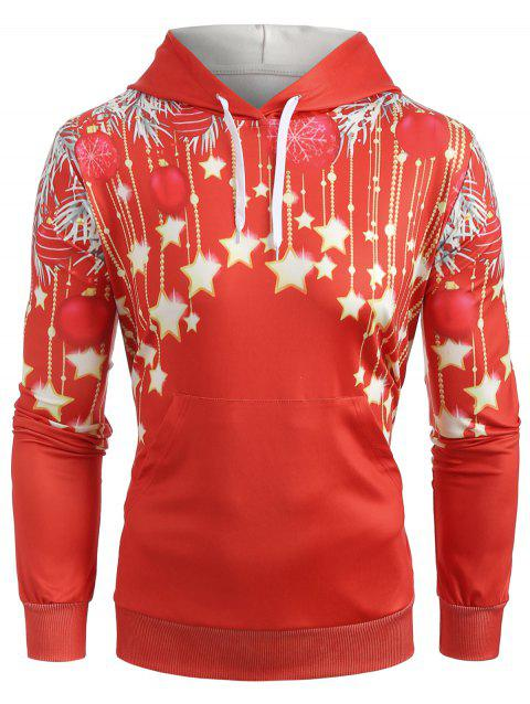 Christmas Stars Print Pullover Hoodie - RED XL