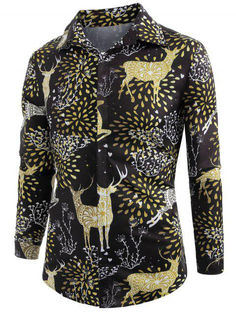Elk Print Christmas Long Sleeve Shirt - BLACK 2XL