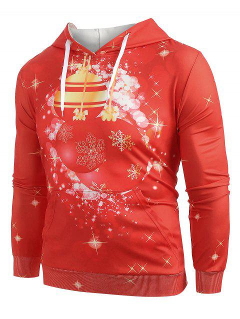 Christmas Ball Print Pullover Hoodie - RED M