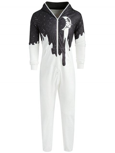 Galaxy Cow Printed Casual Hooded Jumpsuit - multicolor S