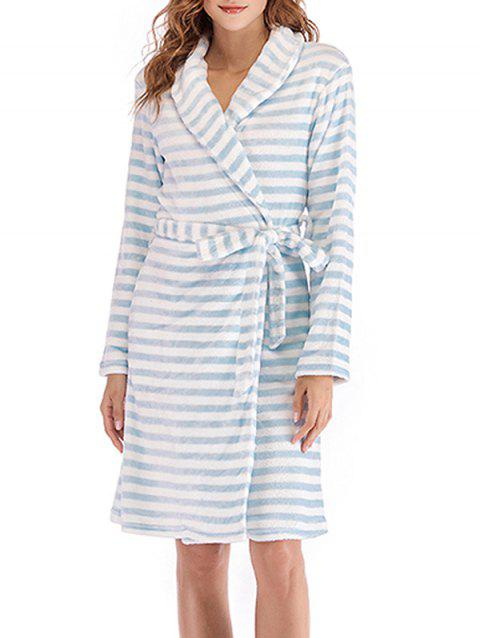 Striped Fluffy Pajama Robe - POWDER BLUE M
