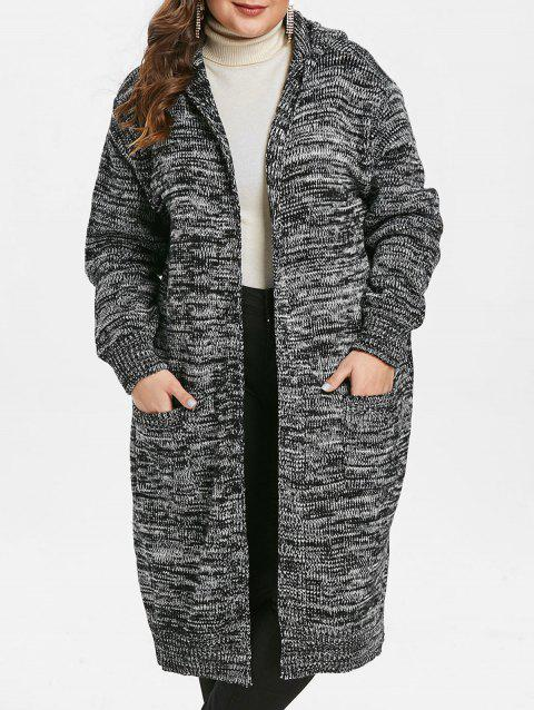 Plus Size Open Front Hooded Cardigan - CARBON GRAY 1X