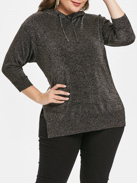 Plus Size High Low Slit Pullover Hoodie - BLACK 2X