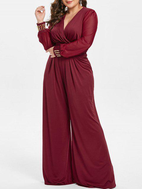 Plus Size Long Sleeves Surplice Jumpsuit with Rivets - RED WINE 2X