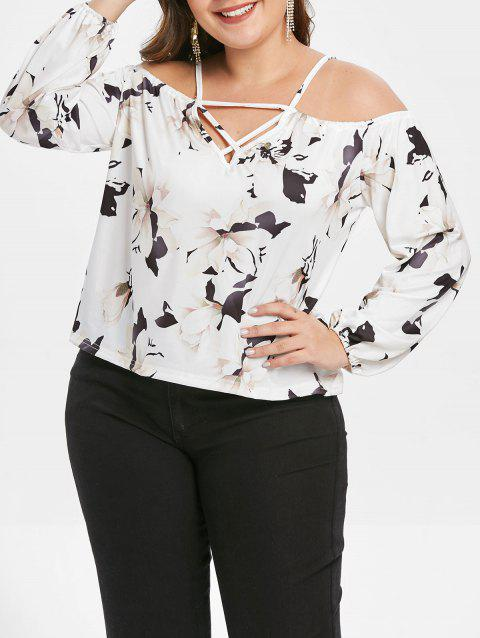 5c4f8f7d3a5563 62% OFF] 2019 Open Shoulder Plus Size Floral Print Blouse In WHITE ...