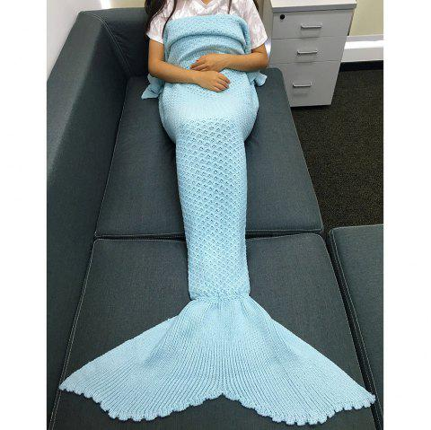 High Quality Solid Color Sequins Knitting Rhombus Design Mermaid Tail Blanket - LIGHT BLUE