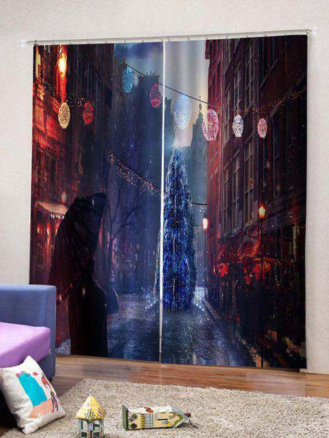 Night Scenery Printed Christmas Window Curtains - multicolor W33.5 X L79 INCH X 2PCS