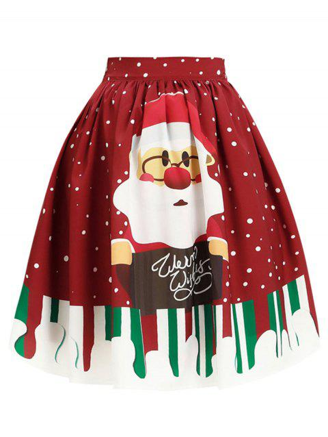 Plus Size Christmas Snowflake Knee Length Skirt - RED L