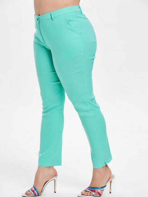 Plus Size Mid Waist One Button Pants - GREEN 3X